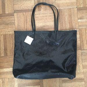 NWT Macy's glitter black tote bag